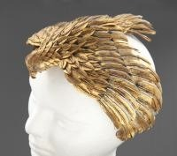 "A falcon headdress worn by Elizabeth Taylor in the 1963 film ""Cleopatra"" is pictured in this undated handout photograph"
