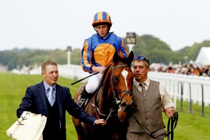 12 June 2015;  GLENEAGLES and Ryan Moore return after their triumph in The St James's Palace Stakes at Ascot.  © Peter Mooney, 6, Cumberland Street, Dun Laoghaire, Co. Dublin, Ireland.    Tel:  00 353 (0)86 2589298