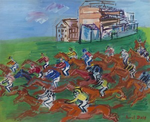 RAOUL DUFY Le Havre 1877 - 1953 Forcalquier Epsom, la course Signedlower right: Raoul DufyOil on canvas: 15 x 18 ¼ in / 38.1 by 46.4 cmFrame size: 22 x 24 ½ in / 55.9 x 62.2 cm Painted in 1933 Provenance: Dr Alexandre Roudinesco, Paris, acquired from the artist; by descent Exhibited: Albi, Musée Toulouse-Lautrec,Raoul Dufy, 1955, no.23, illus.Paris, Galerie Bernheim Jeune-Dauberville,Chefs-d'œuvre de Raoul Dufy, 1959, no.27 Literature: Jean Cassou,Les Trésors de la Peinture Française, vol. XXlll: Raoul Dufy, Geneva 1950Maurice Raynal,Histoire de la Peinture moderne, vol. ll: Matisse, Munch, Rouault: fauvisme et expressionisme,Geneva 1958, p.71, illus. in colourMaurice Lafaille,Raoul Dufy, Catalogue raisonné de l'œuvre peint, Geneva 1976, vol. III, p.312, no.1304, illus. Raoul Dufy was influenced both by the Fauves and the German Expressionists in his use of colour as an emotional medium divorced from a strict adherence to appearances. Slavish truth to nature was less important than evoking a 'shorthand of the essential' through a poetic universe of emblems. Among his favourite themes were regattas and seaside views, and horseracing.  Dufy's fascination with racing grew out of his collaboration with the couturier Paul Poiret, who commissioned him to design textile patterns and stationery. Dufy's paddock watercolours of around 1913 concentrate on the fashionable women in their Poiret dresses and the dandies who accompanied them to the Deauville races. This theme was expanded in the 1920s, with frieze-like compositions of Poiret models enjoying the pleasures of the Turf. From the 1930s Dufy spent much time in England and mingled with high society at Epsom and Ascot. He explored the energy of the horse race, the explosion of colour, light, movement and pattern-making which gives Epsom, la course its intensity.  Seen from a bird's eye view, the pounding horses have an iconic quality which echoes all the way back to the wild horses of the Lascaux caves. Their vivid, ochre