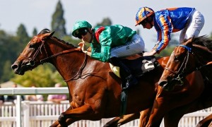 Ervedya, ridden by Christophe Soumillon, wins the Coronation Stakes ahead of Found and Ryan Moore. Photograph: Eddie Keogh/Reuters