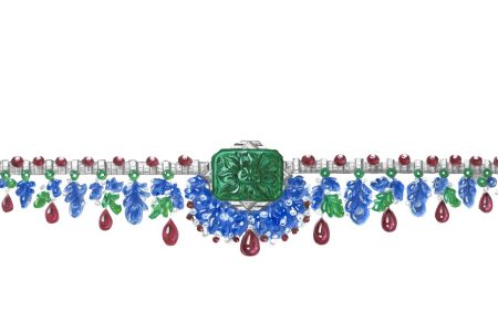 DESIGNS Gouache designs of Cartier jewellery are accurate representations of the piece that realistically depict each of its stones. Here, Cartier's Tutti Frutti may be worn as a bandeau or attached to the wrist. This cheerful hybrid piece cascades in a paving of delectable coloured stones.