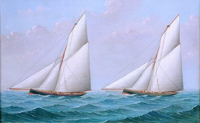 Racing Yachts Artist: H. L. Iddes The racing cutter Arrow being challenged, probably in the solent. Attributed to H. L. Iddes. Oil on canvas, circa 1890, in a period gilded oak and gesso frame. w.25 in x h.18 in Item Code: 122