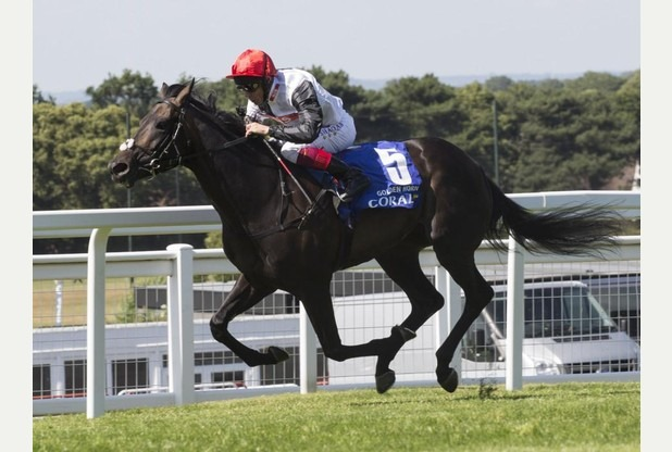 Goldenhorn ridden by Frankie Dettori, winning the 2015 Qatar l'Arc de Triomphe race, at Paris Longchamp race course. Organisers France Galop. Photo courtesy with thanks Johnny Herbert PA Wire.