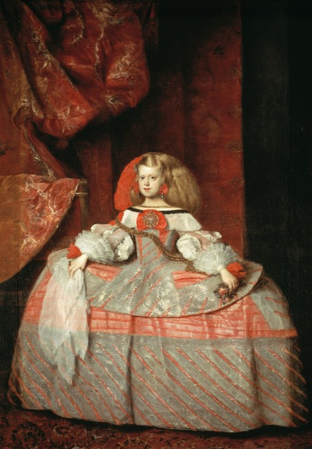 Infanta Margarita Teresa in a Pink Dress is an oil on canvas portrait of Margaret Theresa of Spain by the Spanish painter Diego Velázquez, though his identification as its author is not considered secure. It is now in the Prado Museum in Madrid. It was generally considered to be the last work in his oeuvre, with the dress by Velázquez himself and the head (left unfinished on Velázquez's death) and the bottom of the curtains completed by his pupil Juan Bautista del Mazo.[1] However, recent studies by experts suggest it may be entirely by Mazo. The Prado Museum currently assigns the work to Mazo. Its subject was the royal most frequently portrayed by Velázquez, also appearing in his Las Meninas and Infanta Margarita Teresa in a Blue Dress. In the final years of his life he spent long periods producing portraits of her to send to the Austrian court for political reasons and in response to certain matrimonial arrangements made between the two courts. Infanta Margarita Teresa in a Blue Dress is still in Vienna as are two 1652-53 portraits of her aged one or two in a silver and pink dress. A replica of the latter of the two, with variations, is in the Liria Palace in Madrid, though this is attributed to another painter. Contents  [hide]  1History 2	Notes 3	Bibliography 4	External links