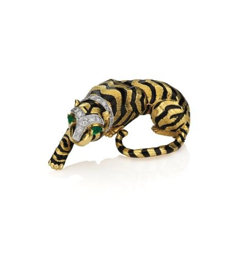 127 DAVID WEBB A Gold, Diamond, Emerald, and Enamel 'Tiger' Brooch Estimate $8,000 - 12,000