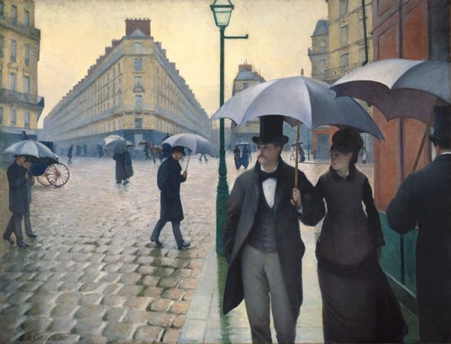 Gustave Caillebotte, Paris Street; Rainy Day, 1877, oil on canvas 83-1/2 x 108-3/4 inches / 212.2 x 276.2 cm (The Art Institute of Chicago).  View this work up close on the Google Art Project.
