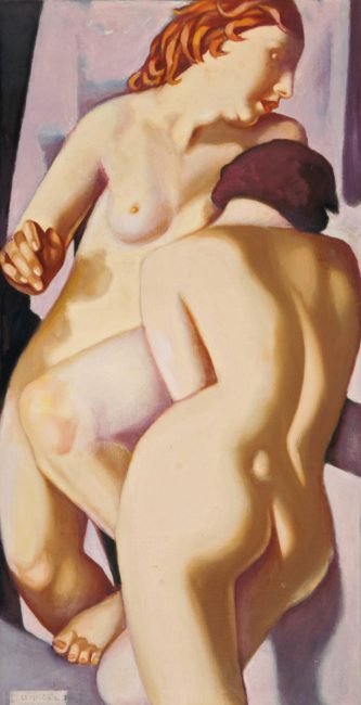 Tamara de Lempicka 1898 - 1980 LES DEUX AMIES V signed oil on canvas 68.2 by 38.7cm.; 26 7/8 by 15 1/4 in. Executed circa 1974.