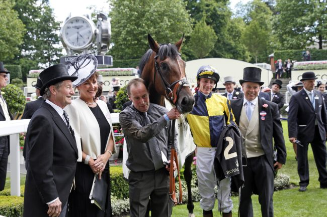 15 June 2016; The winning connections with MY DREAM BOAT after their triumph in The Prince Of Wales's Stakes at Ascot.      © Peter Mooney, 6, Cumberland Street, Dun Laoghaire, Co. Dublin, Ireland.    Tel:  00 353 (0)86 2589298