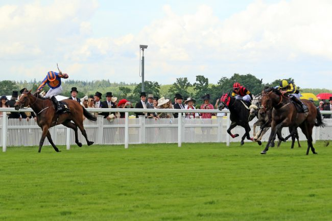 15 June 2016; MY DREAM BOAT, Adam Kirby up, comes late to defeat Found, Ryan Moore up, in The Prince Of Wales's Stakes at Ascot.      © Peter Mooney, 6, Cumberland Street, Dun Laoghaire, Co. Dublin, Ireland.    Tel:  00 353 (0)86 2589298
