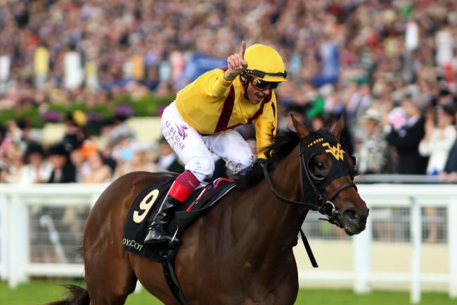 15 June 2016; ADY AURELIA, Frankie Dettori up, comes home alone in The Queen Mary Stakes at Ascot. © Peter Mooney, 6, Cumberland Street, Dun Laoghaire, Co. Dublin, Ireland. Tel: 00 353 (0)86 2589298