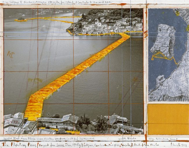 From June 18 to July 3, 2016, Italy's Lake Iseo was reimagined. The Floating Piers consisted of 100,000 square meters of shimmering yellow fabric, carried by a modular dock system of 220,000 high-density polyethylene cubes floating on the surface of the water.