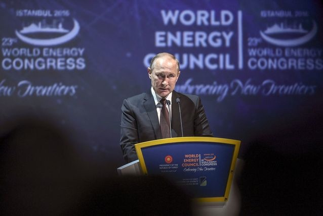Russian President Vladimir Putin gives a speech during the 23rd World Energy Congress on October 10, 2016 in Istanbul. Putin visits Turkey on October 10 for talks with counterpart Recep Tayyip Erdogan, pushing forward ambitious joint energy projects as the two sides try to overcome a crisis in ties. (Ozan Kose/AFP/Getty Images) Thursday, 13 Oct 2016 12:39 PM Read Comments | Add Your Comment Tools: Email   Join the Discussion Disclaimer:The view expressed here by our readers are not necessarily shared by Arabian Business, its employees, sponsors or its advertisers.