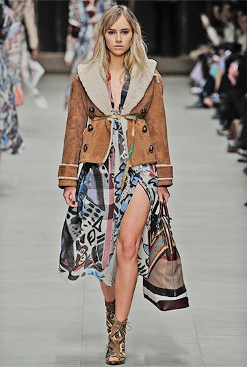 Burberry Sheepskin jacket with floaty silk chiffon dress