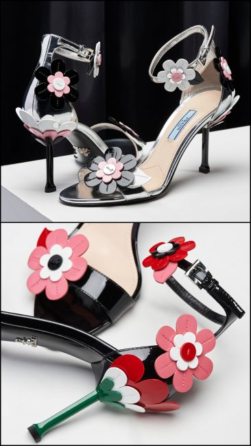 4c918d3b499 Prada Spring Summer 2017 patent leather sandals with alluring colourful  petals   coloured stiletto heels.