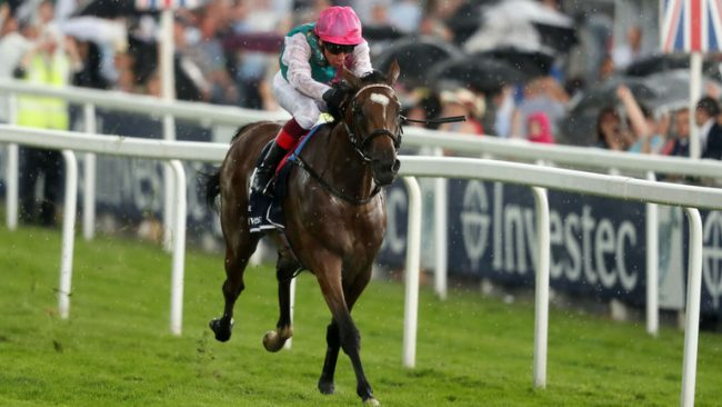 Frankie Dettori on Enable wins the INVESTEC Oaks at Epsom, on storm swept Ladies Day